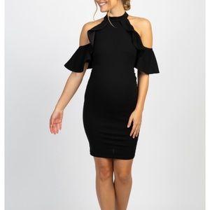 Black Mock Neck Ruffle Trim Mat. Dress